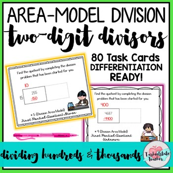 Area Model Division with 2 Digit Divisors Task Cards
