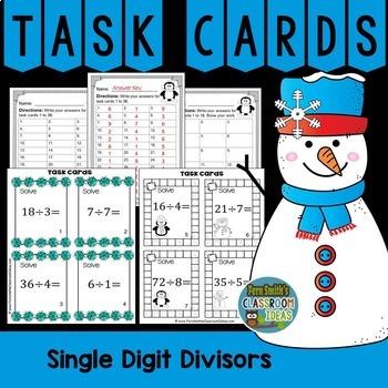 Winter Single Digit Divisors Division Task Cards