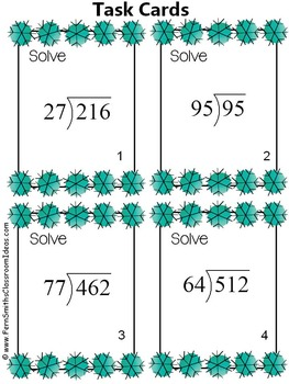 Winter Division Double Digit Divisors with One Digit Quotients Task Cards