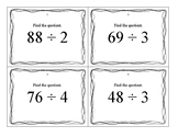 Division Task Cards - 2 or 3 by 1 Digit