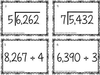 Division Task Cards 4 Digits Divided by 1 Digit with Remainders