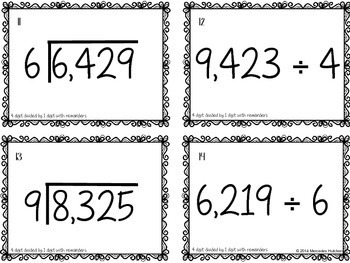 Division Task Cards 4 Digits Divided by 1 Digit with Remainders Task Cards