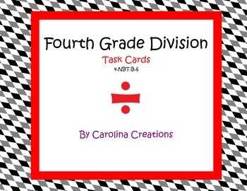 Division Task Cards  4.NBT.B.6 Fourth Grade Common Core Math