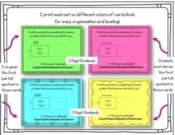 Area Model Division 1 Digit and 2 Digit Divisors Task Cards BUNDLE
