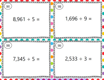 Division Task Cards, Divide up to 4 Digits by 1 Digit, 4.NBT.6
