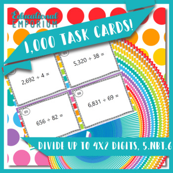 Division Task Cards, Divide up to 4 Digits by 2 Digits, 5.NBT.6