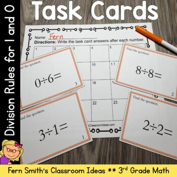 3rd Grade Go Math 6.9 Division Task Cards - Divide By 0 and 1