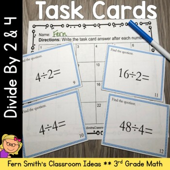 3rd Grade Go Math 7.1 & 7.5 Division Task Cards - Divide By 2 and 4