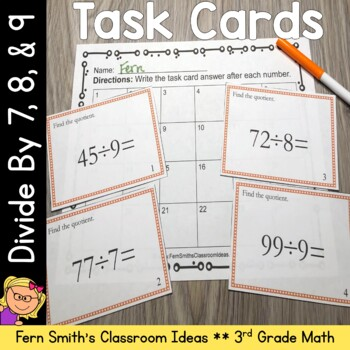 Division Task Cards - Divide by 7, 8, and 9