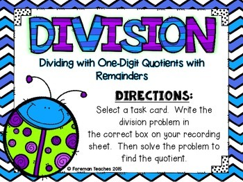 Division Task Cards - Dividing With One-Digit Quotients With Remainders