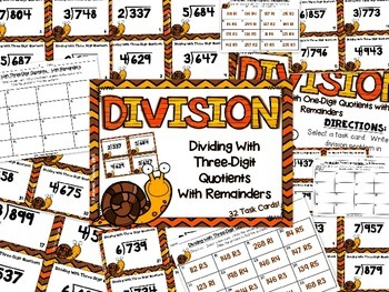 Division Task Cards - Dividing With Three-Digit Quotients With Remainders