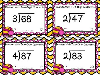 Division Task Cards - Dividing With Two-Digit Quotients With Remainder