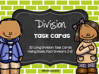 Division Task Cards Divisors 2-12
