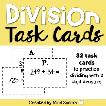 Division Task Cards: Double Digit Divisors