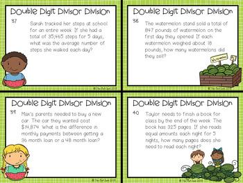 Division Task Cards: Double Digit Divisors Test Prep