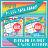 Division Task Cards ENDLESS Bundle: Division Fluency and Word Problems