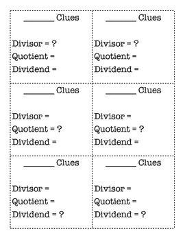Division Task Cards: Formats, Language and Clue Games + Assessment