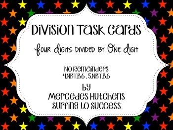 Division Task Cards: Four Digits Divided by One Digit No Remainders