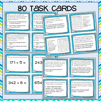 Division Task Cards 4th Grade