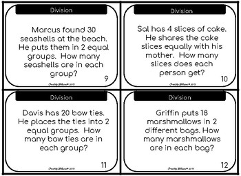 Division Task Cards Groups of 2