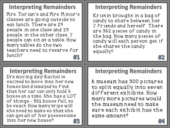 Division Task Cards:Interpreting Remainders with 1 Digit Divisors {CCSS NBT.6}