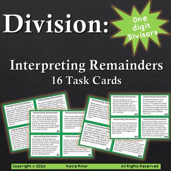 Division Task Cards:Interpreting Remainders with 1 Digit D