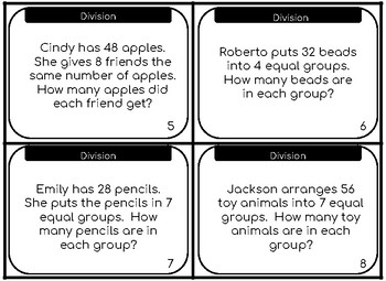 Division Task Cards Mixed Review