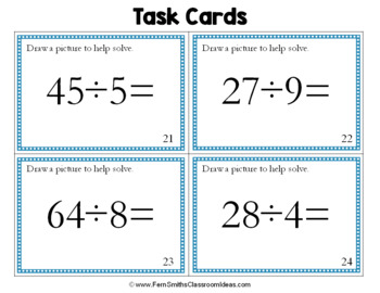 3rd Grade Go Math 6.1 Division Task Cards - Model Division Problems