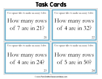 3rd Grade Go Math 6.6 Division Task Cards - Model with Arrays