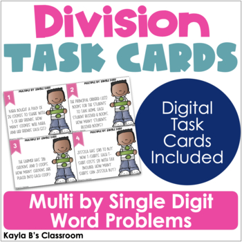 Division Task Cards: Multi by Single Digit Word Problems