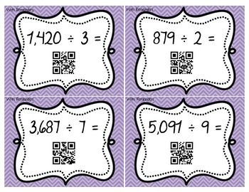 Division Task Cards (Remainders) - With QR Codes