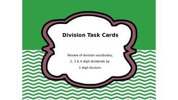 Division Task Cards:  Review Vocab, 1-4 Digit Dividends by 1 Digit Divisors