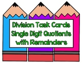 Division Task Cards-Single Digit Quotients with Remainders