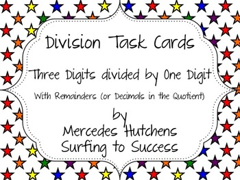 Division Task Cards: Three Digits Divided by One Digit wit