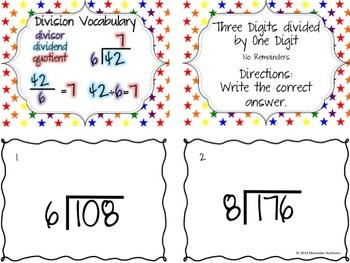 Division Task Cards: Three Digits divided by One Digit