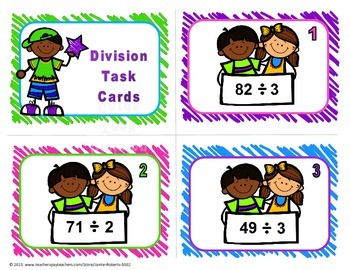 Division Task Cards With1-digit divisors