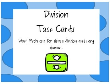 Division Task Cards: Word Problems without QR codes