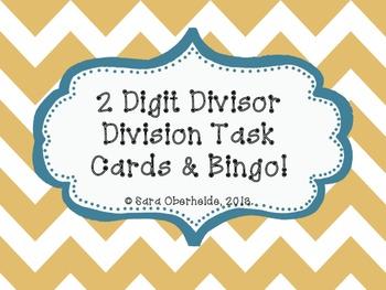 Division Task Cards and Bingo! - 2 digit divisors