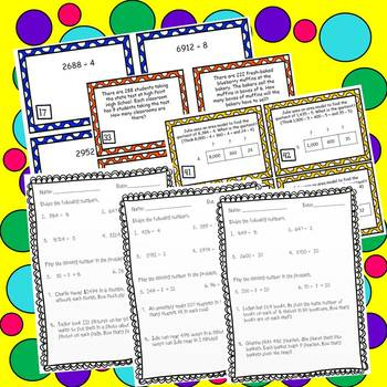 Division Task Cards and *NO PREP* Worksheets 4th Grade Common Core Aligned