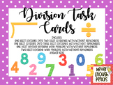 Division Task Cards one digit divisor, two digit dividends