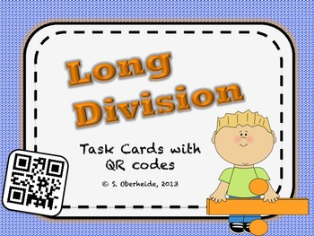 Division Task Cards with QR Codes - 1 digit divisors