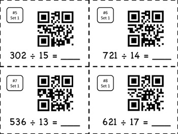 Division Task Cards with QR Codes - 2 digit divisors