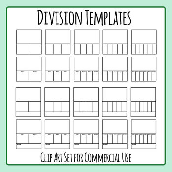 Division Templates Blank Math Template Clip Art Set for Commercial Use