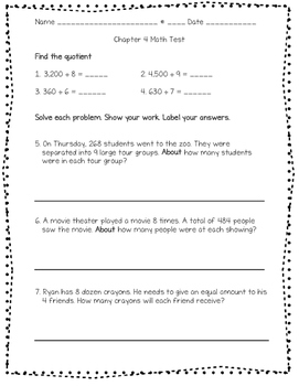 Division Test! (Long, basic facts, word problems)
