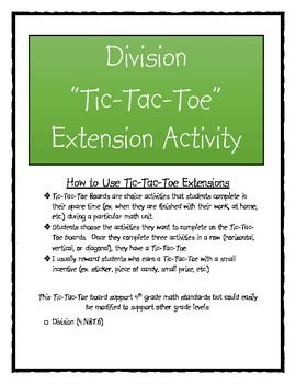 Division Tic-Tac-Toe Extension Activity