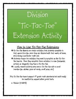 Division Tic-Tac-Toe Enrichment Activity