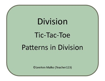Division Tic-Tac-Toe - Patterns in Division