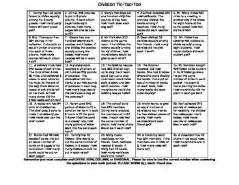 Division Tic Tac Toe Word Problem-4th Grade