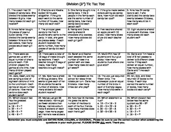 Division Tic Tac Toe Word Problems-3rd Grade