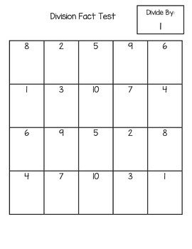 Division Timed Test (FREEBIE)